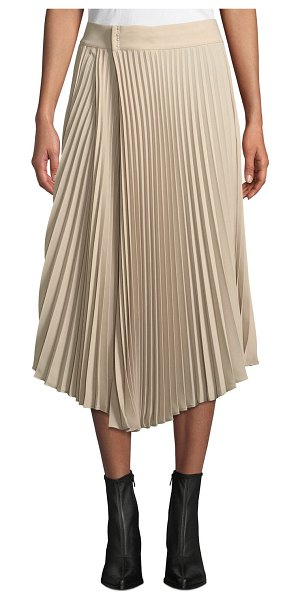 Vince Draped Pleated Midi Skirt in beige - Vince pleated skirt. A-line silhouette. Asymmetric hem....