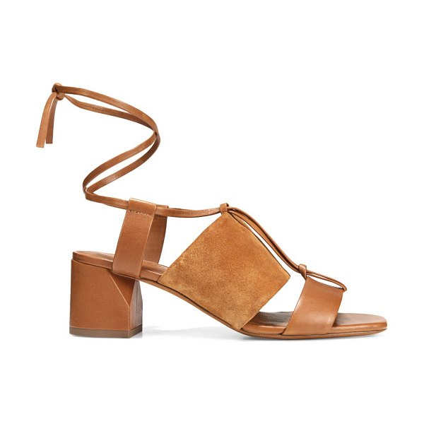 Vince dunaway ankle-wrap suede & leather sandals in hazelnut