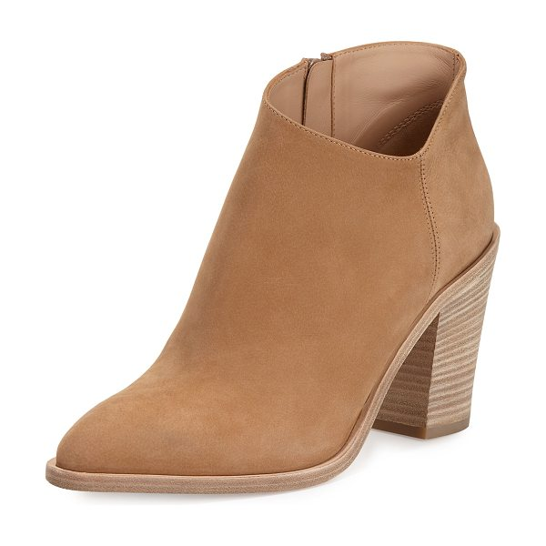 "Vince Easton Asymmetric Nubuck 85mm Bootie in sand - Vince nubuck leather bootie. 3.5"" stacked block heel; 5""..."