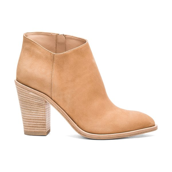 Vince Easton Bootie in tan - Suede upper with leather sole. Side zip closure....