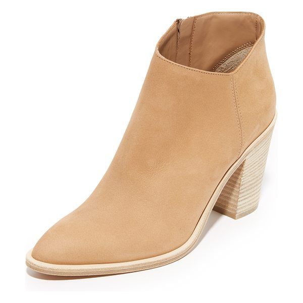 Vince Easton booties in sand - An asymmetrical top line updates these pointed toe Vince...