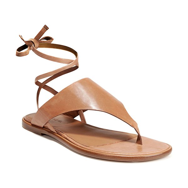 Vince Eastwood Flat Leather Sandals in almond