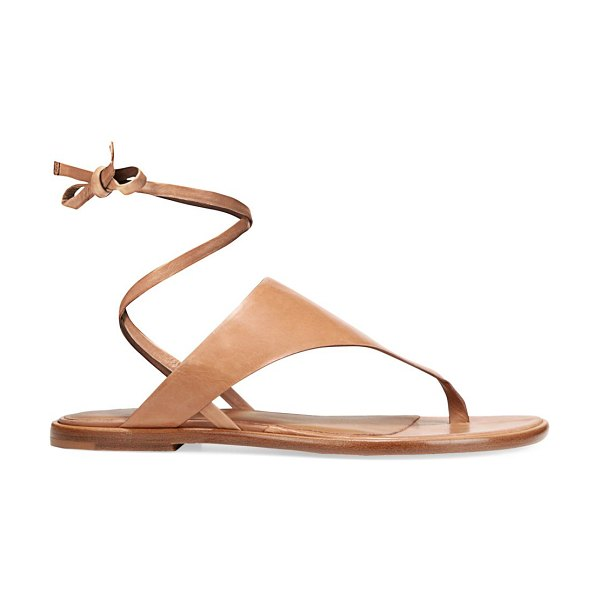 Vince eastwood ankle-wrap leather thong sandals in almond