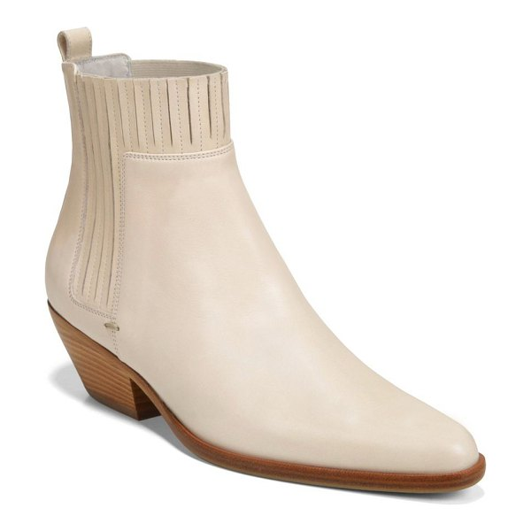 Vince eckland leather booties in vintage white - Borrowing styling from cowboy boots, these point toe...