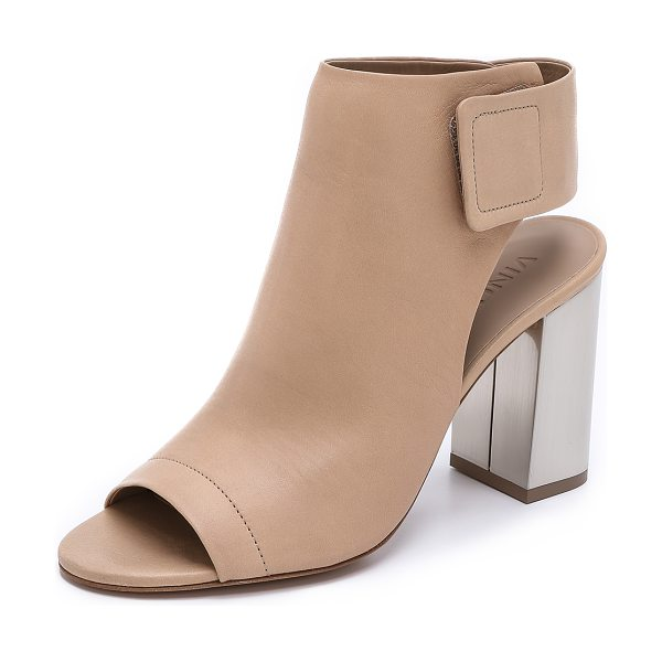 Vince Faye open toe booties in nude/aged pewter - Open toe Vince booties have a modern look with a sleek...
