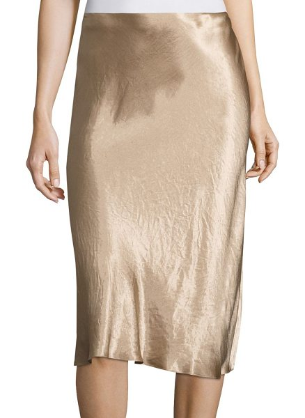 Vince flared midi skirt in gold - Fluid A-line midi skirt in lustrous finish. Banded...