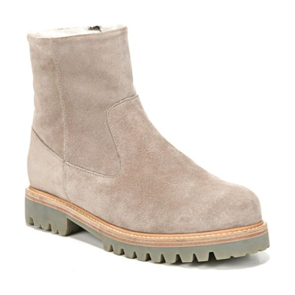 Vince frances genuine shearling lug boot in woodsmoke - Soft, warm genuine shearling adds comfort and warmth to...