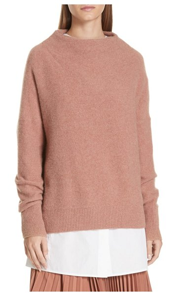Vince funnel neck cashmere sweater in h vintage rose - A chic funnel neckline begins this relaxed,...