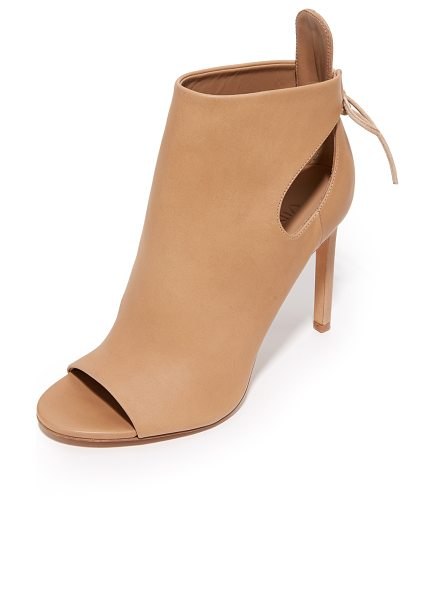 VINCE Gabrielle open toe booties - Slim ties lace up the ankle cuff on these elegant, open...