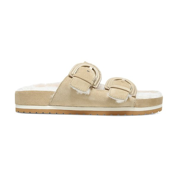 Vince glyn shearling-lined suede sandals in dunes