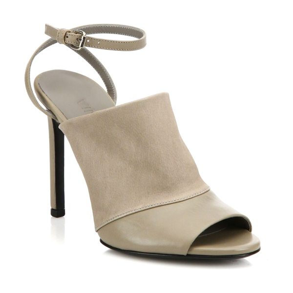 Vince Grace leather ankle-strap mules in pumice - Slim ankle strap modernizes leather mule-style sandal....