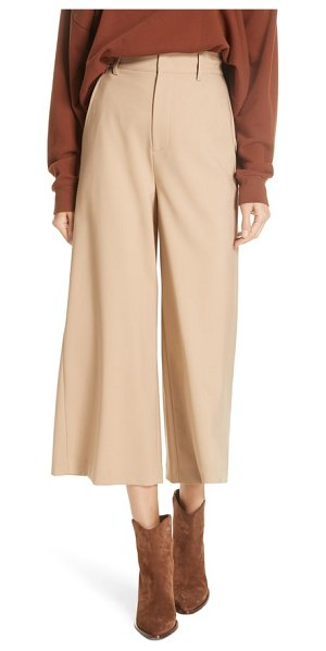 Vince high rise wide leg crop pant in latte - Cast a thoroughly modern silhouette in a tailored...