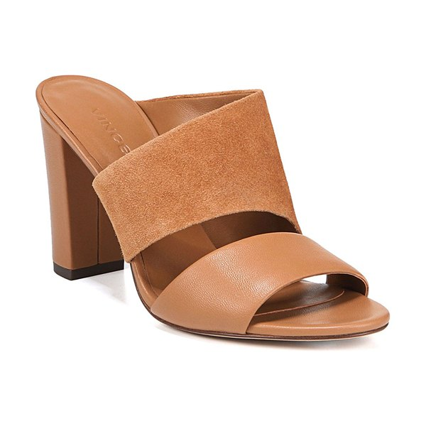 Vince Hiro Suede & Leather Mule Sandals in light brown