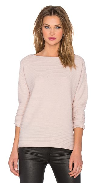 Vince Horizontal rib boatneck sweater in pink - 100% cashmere. Hand wash cold. Raw cut edges....