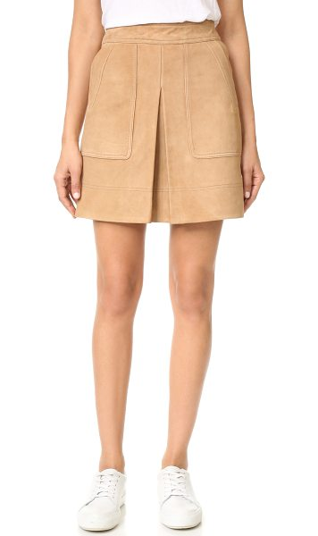 Vince inverted pleat suede miniskirt in tan - A kick pleat relaxes the fit of this retro-inspired...