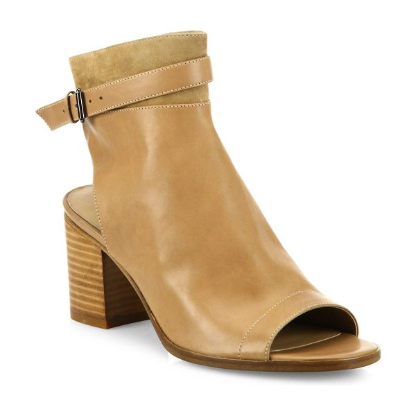 Vince jane leather peep-toe block-heel booties in sand - Suede-trim leather peep-toe bootie with ankle strap....