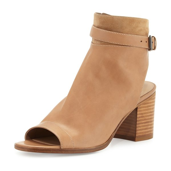 "Vince Jane Leather Peep-Toe Bootie in sand - Vince leather bootie with suede trim. 2.8"" stacked block..."
