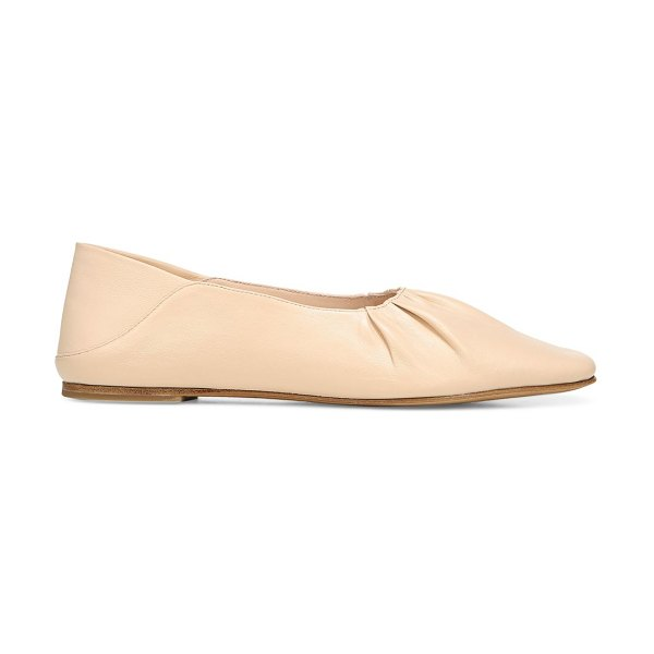 Vince kali square-toe leather ballet flats in lychee