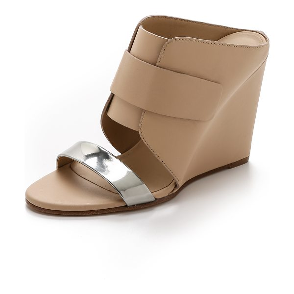 Vince Karima 2 wedge mules in pewter/nude - A mirrored band brings a cool flash to these leather...