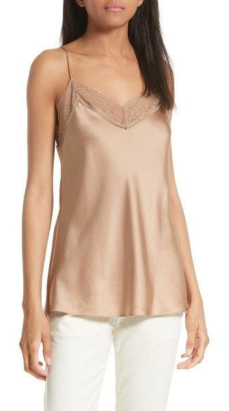 Vince lace edge camisole in camel - Delicate lace trim reinforces the lingerie inspiration...