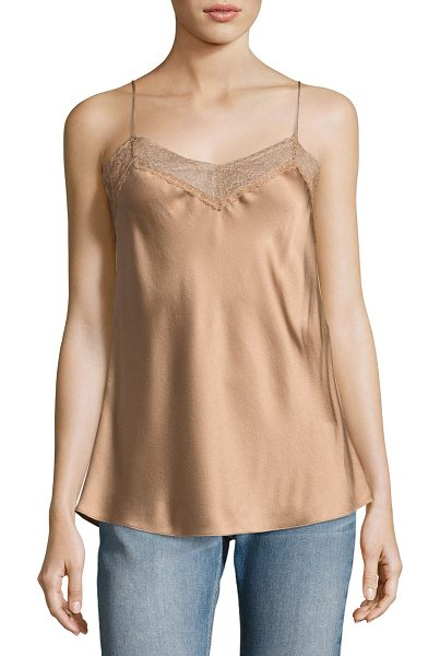 Vince Lace Satin Camisole in light brown - Vince satin camisole with lace trim. V neckline. Thin...