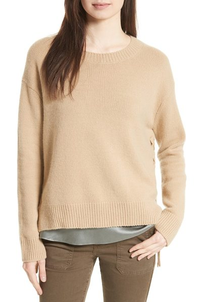 Vince lace up cashmere pullover in camel - Laced with ties at the split sides, a classic crewneck...