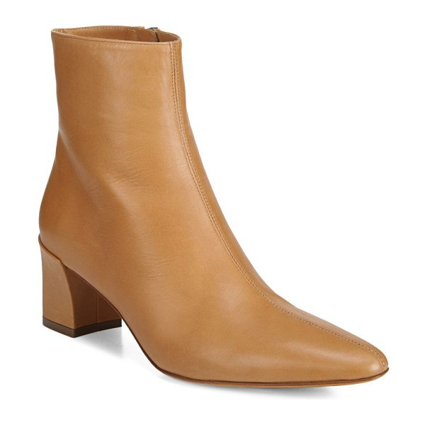 Vince lanica leather booties in wheat - Sleek block heel booties in buttery Italian leather....