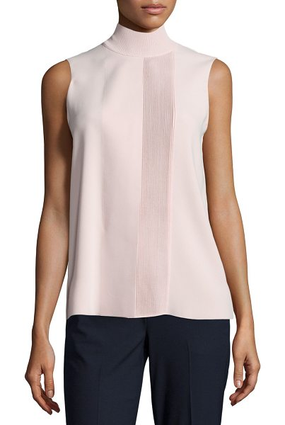 """Vince Laser-Cut Sleeveless Turtleneck Top in new buff - Vince laser-cut top. Approx. length: 26""""L from shoulder..."""