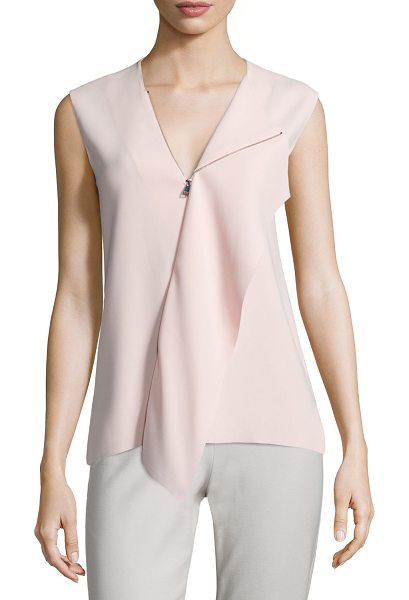 VINCE Laser-Cut Zip-Collar Sleeveless Top - Vince laser-cut top with bias-draped front panel....