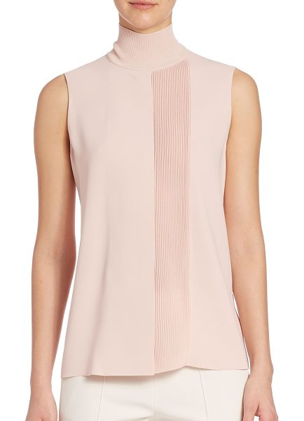 Vince lasercut sleeveless turtleneck in new buff