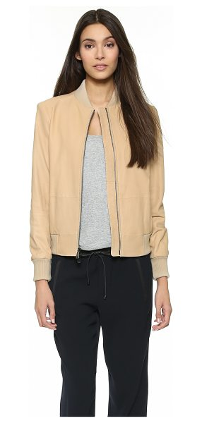 Vince Leather bomber jacket in cafe au lait - This Vince jacket is cut from lightweight nubuck for a...