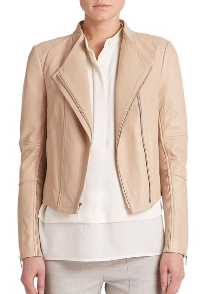 Vince Leather moto jacket in sandshell - Tonal topstitching and bold zip details lend effortless...