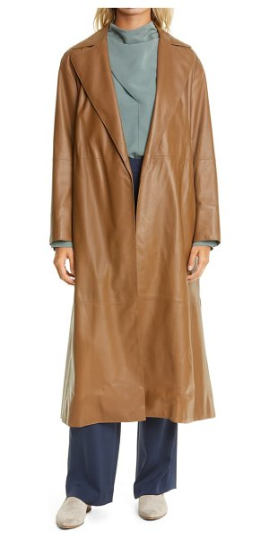 Vince leather wrap coat in brown