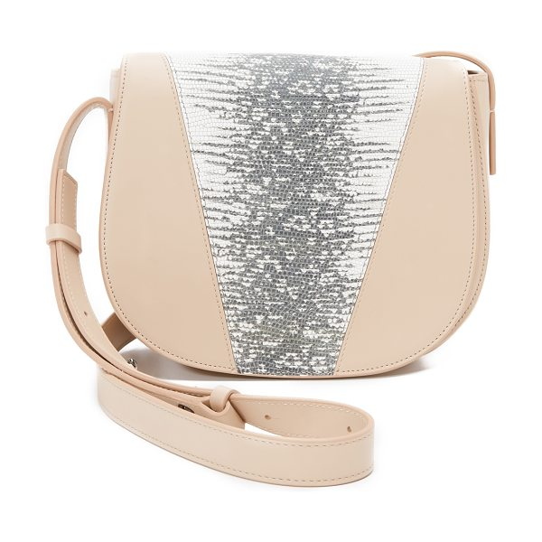 Vince Lizard embossed mini saddle bag in sand - A compact, cross body Vince saddle bag composed of soft,...