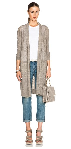 Vince Long belted cardigan in brown