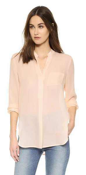 VINCE Long sleeve pocket blouse - A breezy Vince blouse in fine silk. A split hem keeps...