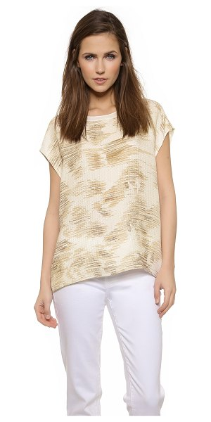 Vince Marble jacquard silk tee in off white/desert - Jacquard stitching creates a faceted effect on this silk...