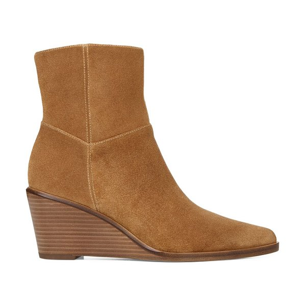 Vince mavis suede wedge ankle boots in tan