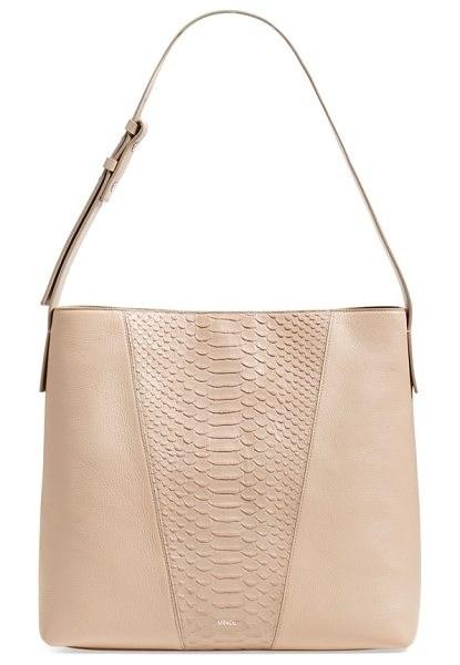 Vince Modern v python embossed leather hobo bag in sand - A python-embossed front panel provides a stunning,...