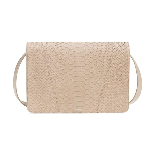 Vince Modern v python embossed leather shoulder bag in sand - Allover python embossing lends stunning, textural...