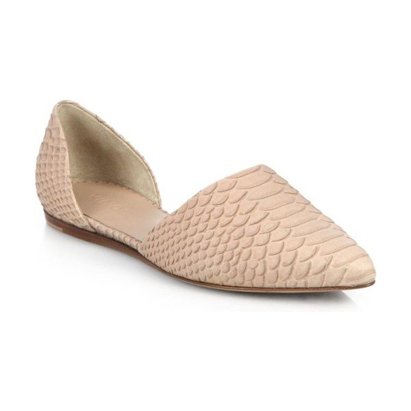 Vince Nina snake-embossed leather d'orsay flats in nude - A most-loved Vince signature, these d'Orsay slip-on...