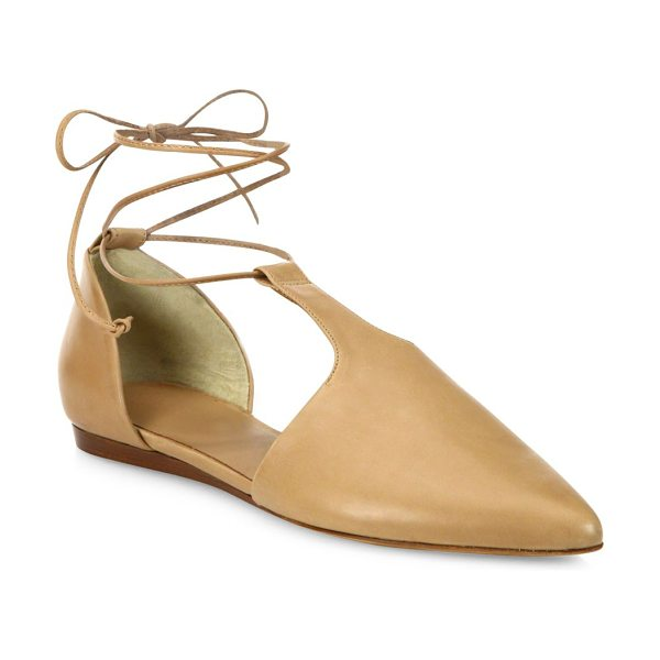VINCE noella arabian leather lace-up flats - Cutout leather point-toe flat with lace-up styling....