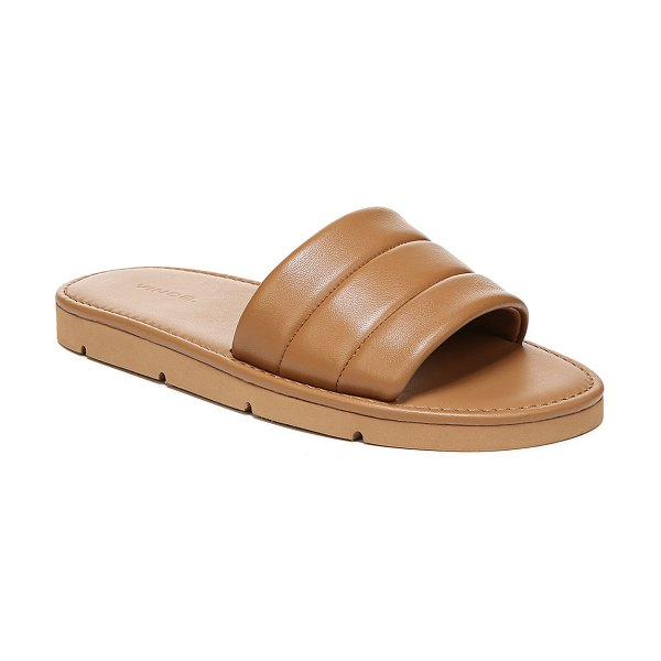 Vince Olina Padded Leather Flat Sandals in tan