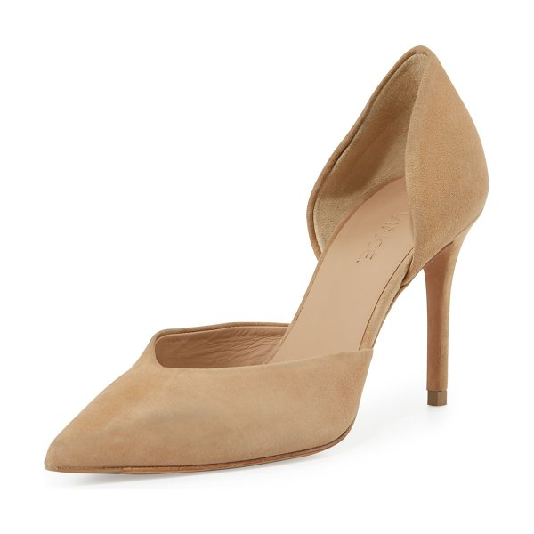 "Vince Paulette Suede d'Orsay Pump in sand - Vince suede pump. 3.5"" covered heel. Pointed toe. V'd..."