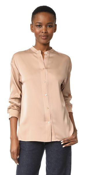 Vince pintuck placket blouse in petal - Pintucks border the buttoned placket on this delicate...