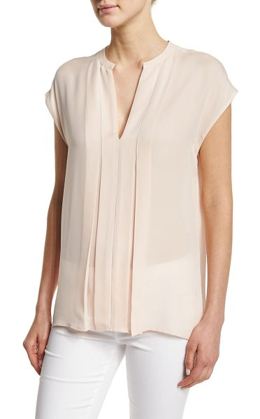 Vince Pintuck Popover Silk Top in new buff - Vince top with pintuck, pleated front. Split V neckline....