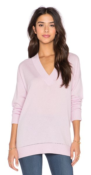 Vince Pointelle trim v neck sweater in pink - 100% cashmere. Hand wash cold. Ribbed trim. VINCE-WK306....