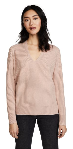 Vince raglan ribbed double v neck in quartz - Fabric: Brushed, ribbed knit Raglan seams Waist-length...