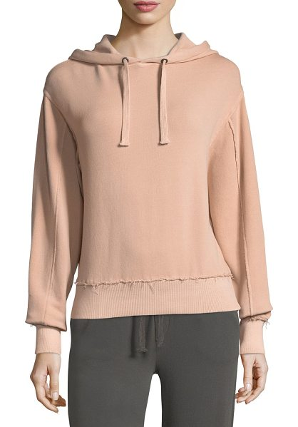 "Vince Raw-Edge Cotton Hoodie in pink - Vince sweatshirt with raw-edge trim. Approx. 26""L down..."