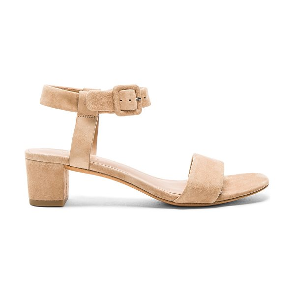 Vince Rena Sandal in tan - Suede upper with leather sole. Ankle strap with buckle...